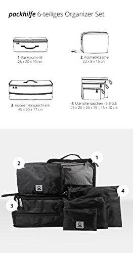 HAUPTSTADTKOFFER - Packhilfe – Koffer Reise-Organizer Set 6-teilig, mobiler Kleiderschrank + multifunktionale Packtasche (M), Kosmetiktasche, 3 kleine Utensilien-Taschen - 3