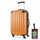 HAUPTSTADTKOFFER - Spree - Kabinentrolley + Kofferanhänger, Handgepäck Hartschale mit Erweiterung, TSA, 4 Rollen, 55 cm, 42 Liter, Orange - 1