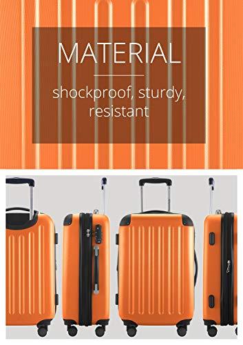 HAUPTSTADTKOFFER - Spree - Kabinentrolley + Kofferanhänger, Handgepäck Hartschale mit Erweiterung, TSA, 4 Rollen, 55 cm, 42 Liter, Orange - 3