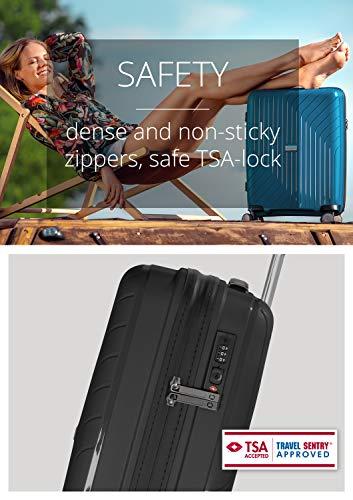 HAUPTSTADTKOFFER- TXL - leichtes Handgepäck, Kabinengepäck Hartschalen-Trolley aus robustem Polypropylen, Kabinentrolley 55 cm, 36 L, TSA-Schloss, Schwarz - 2