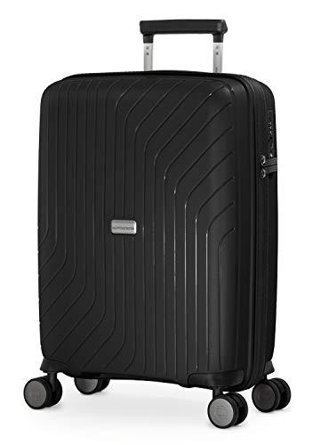 HAUPTSTADTKOFFER- TXL - leichtes Handgepäck, Kabinengepäck Hartschalen-Trolley aus robustem Polypropylen, Kabinentrolley 55 cm, 36 L, TSA-Schloss, Schwarz - 1