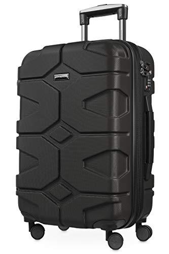 HAUPTSTADTKOFFER - X-Kölln - Handgepäck Trolley, Bordgepäck, Koffer, Volumenerweiterung, TSA, 4 gummierte Doppelrollen, 55 cm, 50 L, Schwarz matt - 1
