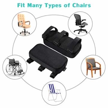 Healifty Armlehnen Polster - Memory Foam für Bürostuhl und Spielstuhl Armlehnen Bezüge Ergonomisch für Ellbogen und Unterarm Anti-Rutsch Unterseite (2PCS) - 3
