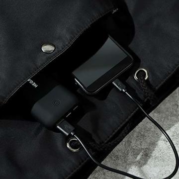 Heganus Powerbank 10000mAh, Mini Kompakte Externer Akku, Kleine und Leichter Power Bank mit Micro+USB C, Handy Ladegerät Leicht Compact Externer Batterie für iPhone,Samsung,Huawei,iPad (Schwarz) - 3
