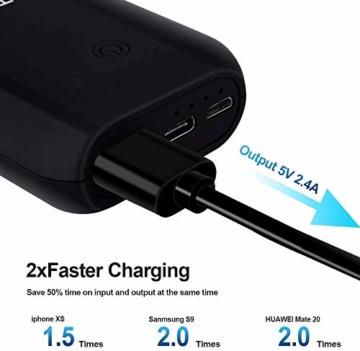 Heganus Powerbank 10000mAh, Mini Kompakte Externer Akku, Kleine und Leichter Power Bank mit Micro+USB C, Handy Ladegerät Leicht Compact Externer Batterie für iPhone,Samsung,Huawei,iPad (Schwarz) - 5