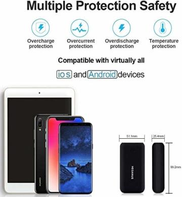 Heganus Powerbank 10000mAh, Mini Kompakte Externer Akku, Kleine und Leichter Power Bank mit Micro+USB C, Handy Ladegerät Leicht Compact Externer Batterie für iPhone,Samsung,Huawei,iPad (Schwarz) - 7