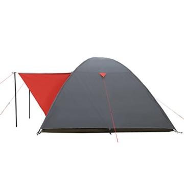 JUSTCAMP Campingzelt Austin 4, Kuppelzelt, Doppelwandig, 4 Personen - grau, Iglu Zelt, Festival, Ausflug, Reise - 4