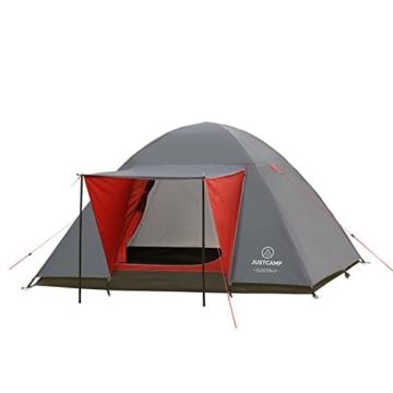 JUSTCAMP Campingzelt Austin 4, Kuppelzelt, Doppelwandig, 4 Personen - grau, Iglu Zelt, Festival, Ausflug, Reise - 1