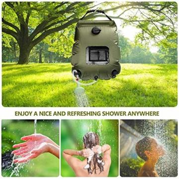 KIPIDA Solardusche Outdoor, 20L Campingdusche Solar Wassersack Heizung Camping Dusche Tasche mit Duschkopf Gartendusche Pooldusche Warmwasser Shower, Outdoor Camping Wandern Wassersack zum Faltbar - 2
