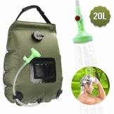 KIPIDA Solardusche Outdoor, 20L Campingdusche Solar Wassersack Heizung Camping Dusche Tasche mit Duschkopf Gartendusche Pooldusche Warmwasser Shower, Outdoor Camping Wandern Wassersack zum Faltbar - 1