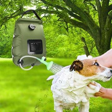 KIPIDA Solardusche Outdoor, 20L Campingdusche Solar Wassersack Heizung Camping Dusche Tasche mit Duschkopf Gartendusche Pooldusche Warmwasser Shower, Outdoor Camping Wandern Wassersack zum Faltbar - 3