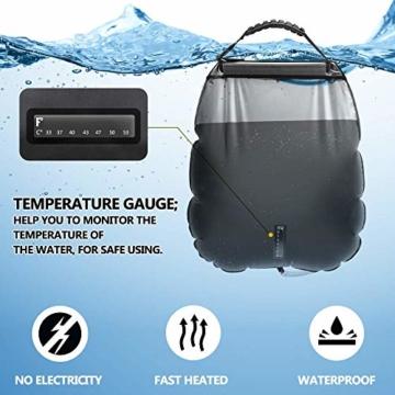 KIPIDA Solardusche Outdoor, 20L Campingdusche Solar Wassersack Heizung Camping Dusche Tasche mit Duschkopf Gartendusche Pooldusche Warmwasser Shower, Outdoor Camping Wandern Wassersack zum Faltbar - 6
