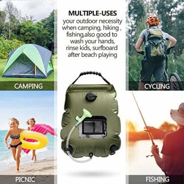 KIPIDA Solardusche Outdoor, 20L Campingdusche Solar Wassersack Heizung Camping Dusche Tasche mit Duschkopf Gartendusche Pooldusche Warmwasser Shower, Outdoor Camping Wandern Wassersack zum Faltbar - 7
