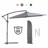 Laxllent Ampelschirm Alu Sonnenschirm 300Dx250HCM mit Kurbel,UV Schutz UPF50+ Wasserdicht Rostfest,im Gaten Balkon Strand,Anthrazit - 1