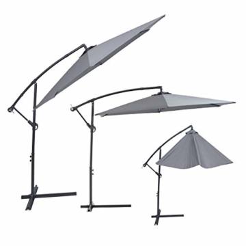 Laxllent Ampelschirm Alu Sonnenschirm 300Dx250HCM mit Kurbel,UV Schutz UPF50+ Wasserdicht Rostfest,im Gaten Balkon Strand,Anthrazit - 3