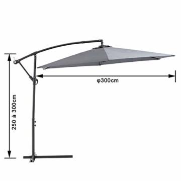 Laxllent Ampelschirm Alu Sonnenschirm 300Dx250HCM mit Kurbel,UV Schutz UPF50+ Wasserdicht Rostfest,im Gaten Balkon Strand,Anthrazit - 4