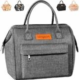 longzon 15L Kühltasche Lunchtasche Picknicktasche Wiederverwendbare Faltbar Thermotasche Kühltasche für Camping, BBQ, Wandern, Picknick- Grau - 1