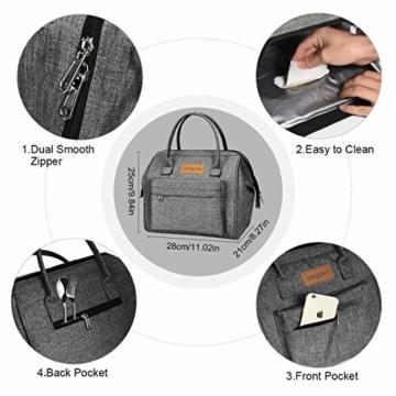 longzon 15L Kühltasche Lunchtasche Picknicktasche Wiederverwendbare Faltbar Thermotasche Kühltasche für Camping, BBQ, Wandern, Picknick- Grau - 4