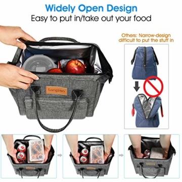 longzon 15L Kühltasche Lunchtasche Picknicktasche Wiederverwendbare Faltbar Thermotasche Kühltasche für Camping, BBQ, Wandern, Picknick- Grau - 5