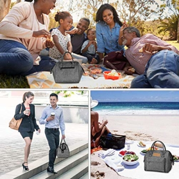 longzon 15L Kühltasche Lunchtasche Picknicktasche Wiederverwendbare Faltbar Thermotasche Kühltasche für Camping, BBQ, Wandern, Picknick- Grau - 9