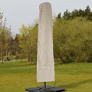 Mendler Schutzhülle HWC für Ampelschirm bis 4,3 m (3x3 m), Abdeckhülle Cover mit Reißverschluss ~ Creme - 5