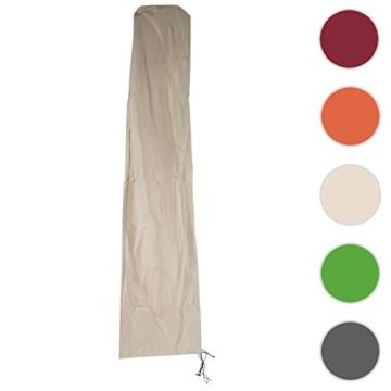 Mendler Schutzhülle HWC für Ampelschirm bis 4,3 m (3x3 m), Abdeckhülle Cover mit Reißverschluss ~ Creme - 6