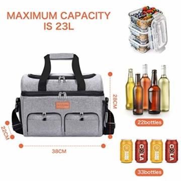 NASUM Kühltasche, Lebensmitteltasche, tragbare Kühltasche für Picknick, Outdoor-Aktivitäten, Grill/Camping/Sport/Reisen (23 l) - 3