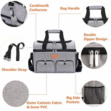 NASUM Kühltasche, Lebensmitteltasche, tragbare Kühltasche für Picknick, Outdoor-Aktivitäten, Grill/Camping/Sport/Reisen (23 l) - 6