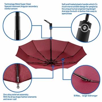 Newdora Regenschirm Taschenschirm Windproof sturmfest Auf-Zu Automatik 210T Nylon Umbrella wasserabweisend klein leicht kompakt 10 Ribs Reise Golfschirm mit Trockenbeutel(Weinrot) - 3