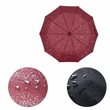 Newdora Regenschirm Taschenschirm Windproof sturmfest Auf-Zu Automatik 210T Nylon Umbrella wasserabweisend klein leicht kompakt 10 Ribs Reise Golfschirm mit Trockenbeutel(Weinrot) - 4