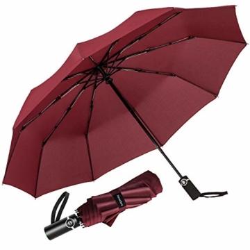 Newdora Regenschirm Taschenschirm Windproof sturmfest Auf-Zu Automatik 210T Nylon Umbrella wasserabweisend klein leicht kompakt 10 Ribs Reise Golfschirm mit Trockenbeutel(Weinrot) - 1