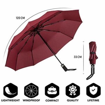 Newdora Regenschirm Taschenschirm Windproof sturmfest Auf-Zu Automatik 210T Nylon Umbrella wasserabweisend klein leicht kompakt 10 Ribs Reise Golfschirm mit Trockenbeutel(Weinrot) - 5