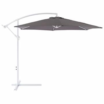 Nexos Sonnenschirm hängend Ø 2,9m Stahl 6 Rippen Gestell UV Schutz Ampelschirm Gartenschirm Marktschirm mit Kurbel Schirmstoff anthrazit wasserabweisend - 4