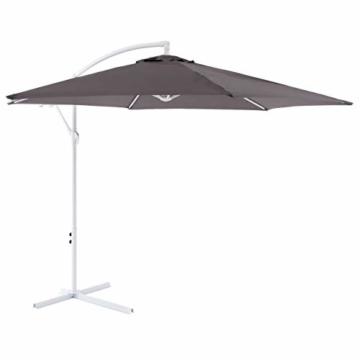 Nexos Sonnenschirm hängend Ø 2,9m Stahl 6 Rippen Gestell UV Schutz Ampelschirm Gartenschirm Marktschirm mit Kurbel Schirmstoff anthrazit wasserabweisend - 1