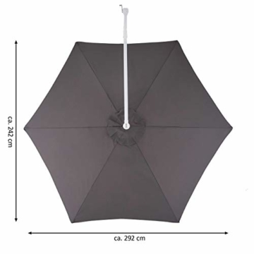 Nexos Sonnenschirm hängend Ø 2,9m Stahl 6 Rippen Gestell UV Schutz Ampelschirm Gartenschirm Marktschirm mit Kurbel Schirmstoff anthrazit wasserabweisend - 5
