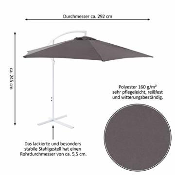 Nexos Sonnenschirm hängend Ø 2,9m Stahl 6 Rippen Gestell UV Schutz Ampelschirm Gartenschirm Marktschirm mit Kurbel Schirmstoff anthrazit wasserabweisend - 7