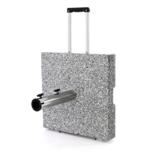 Nexos Sonnenschirmständer Granit Grau eckig mit Trolley-Griff, Rollen, Reduzierhülsen, Edelstahlrohr poliert 45 x 45 cm 40 kg. Für Schirme bis 3,5 m - 1