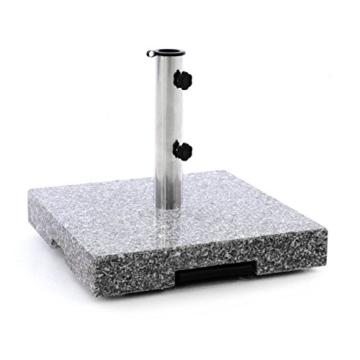 Nexos Sonnenschirmständer Granit Grau eckig mit Trolley-Griff, Rollen, Reduzierhülsen, Edelstahlrohr poliert 45 x 45 cm 40 kg. Für Schirme bis 3,5 m - 3