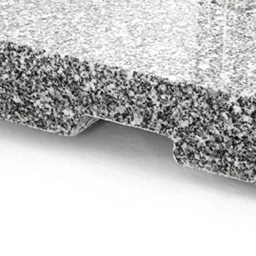 Nexos Sonnenschirmständer Granit Grau eckig mit Trolley-Griff, Rollen, Reduzierhülsen, Edelstahlrohr poliert 45 x 45 cm 40 kg. Für Schirme bis 3,5 m - 4