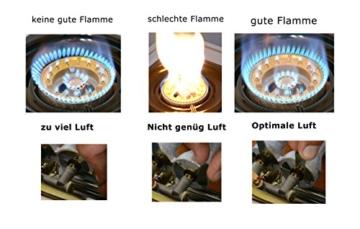 NGB-200 Hochwertiger Edelstahl Gaskocher 2 flammig 9,0 KW LPG Gasherd Campingkocher WOK Hockerkocher inkl. Gasschlauch-Regler-Set - 9