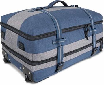 normani XXL Reisetasche mit 125 Liter und 3 großen Fächern - Trolley mt Zwei Rollen Farbe Blau/Grau - 2