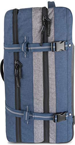 normani XXL Reisetasche mit 125 Liter und 3 großen Fächern - Trolley mt Zwei Rollen Farbe Blau/Grau - 4