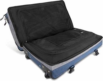 normani XXL Reisetasche mit 125 Liter und 3 großen Fächern - Trolley mt Zwei Rollen Farbe Blau/Grau - 5