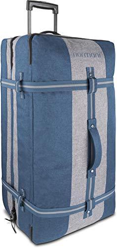 normani XXL Reisetasche mit 125 Liter und 3 großen Fächern - Trolley mt Zwei Rollen Farbe Blau/Grau - 1