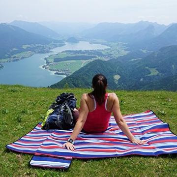 outdoorer Picknickdecke XL Fleece - große Fleecedecke (150 x 180 cm), Camping- und Stranddecke mit Streifen - 2