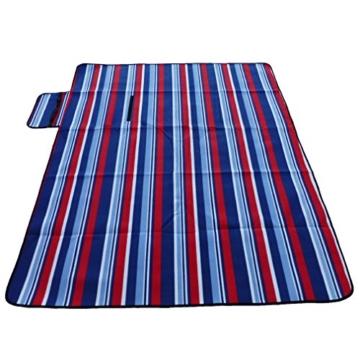 outdoorer Picknickdecke XL Fleece - große Fleecedecke (150 x 180 cm), Camping- und Stranddecke mit Streifen - 7