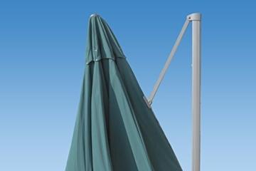paramondo parapenda Ampelschirm Ampelsonnenschirm, rund, Ø 3,5 m, 360° Schwenkbar, Kurbelbedienung, Blau, Stahl-Standkreuz und Gestell in Silber - 3