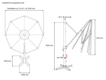 paramondo parapenda Ampelschirm Ampelsonnenschirm, rund, Ø 3,5 m, 360° Schwenkbar, Kurbelbedienung, Blau, Stahl-Standkreuz und Gestell in Silber - 4