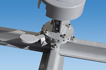 paramondo parapenda Ampelschirm Ampelsonnenschirm, rund, Ø 3,5 m, 360° Schwenkbar, Kurbelbedienung, Blau, Stahl-Standkreuz und Gestell in Silber - 6