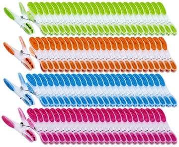 PEARL Wäscheklammer Sets: Extra Starke Wäscheklammern mit Soft-Grip, 200 Stück, in 4 Farben (Wäscheklammern Kunststoff) - 1